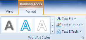 WordArt Commands on the PowerPoint Ribbon