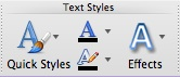 Text Fill and Text Outline not labeled in the Text Styles group