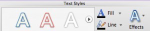 Text Styles group on PowerPoint 2011 Ribbon