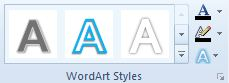 WordArt Styles group with unlabeled Text Fill, Outline, and Effects commands