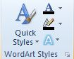 WordArt Styles groups with unlabeled commands