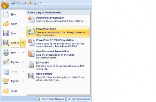 Save As PowerPoint Show in PowerPoint 2007